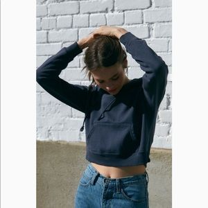 Brandy Melville Daisy cropped hoodie - navy
